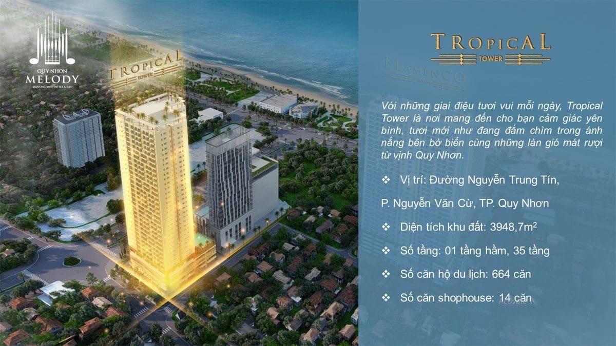 tòa tháp Tropical Tower - DỰ ÁN CĂN HỘ CONDOTEL QUY NHƠN MELODY