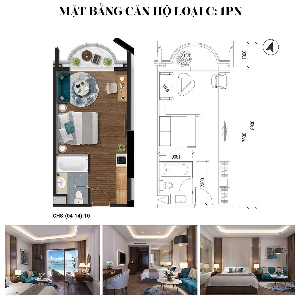 Thiết kế Căn hộ 1 phòng ngủ Condotel Oyster Gành Hào