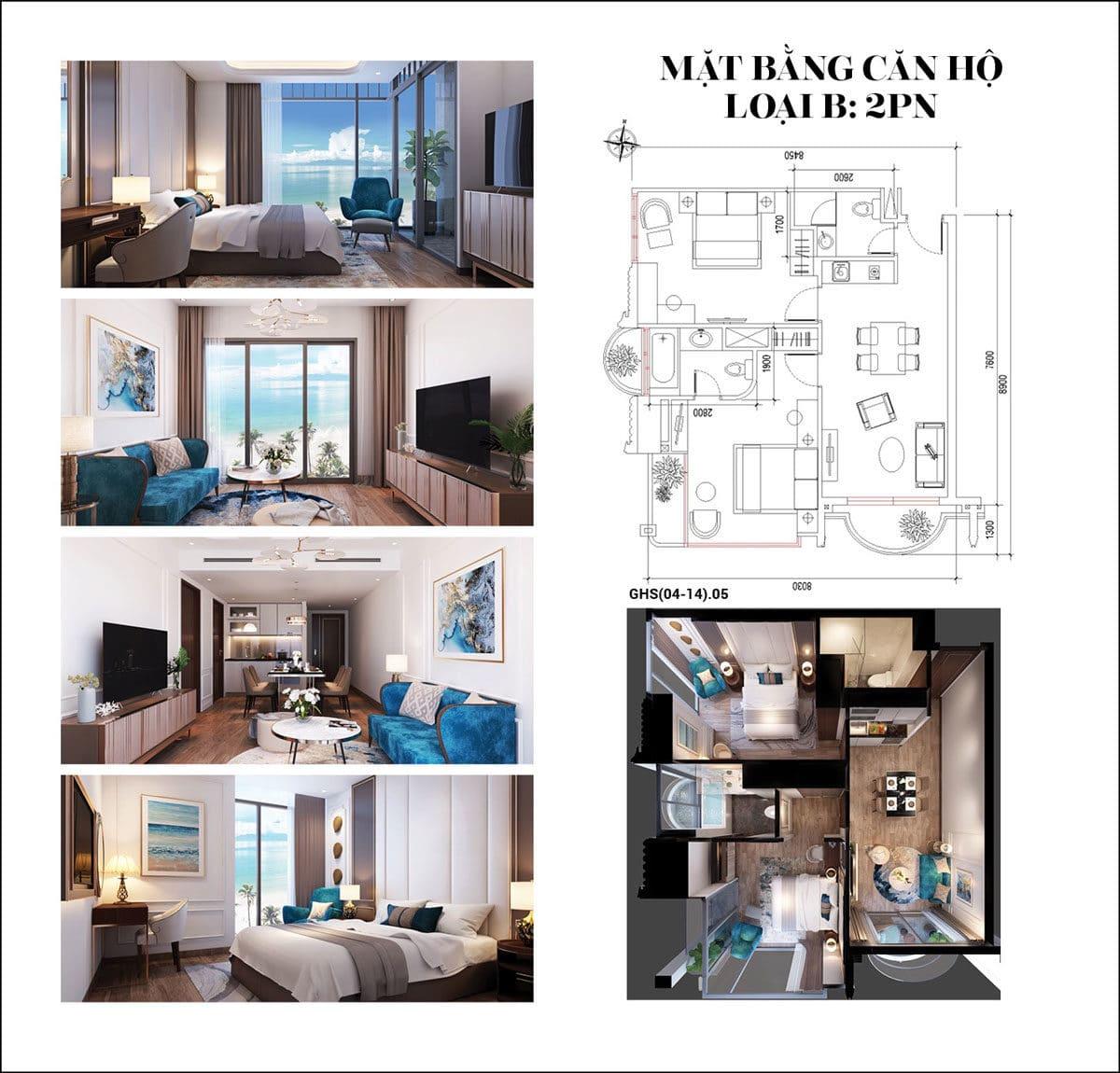 Thiết kế Căn hộ 2 phòng ngủ Condotel Oyster Gành Hào