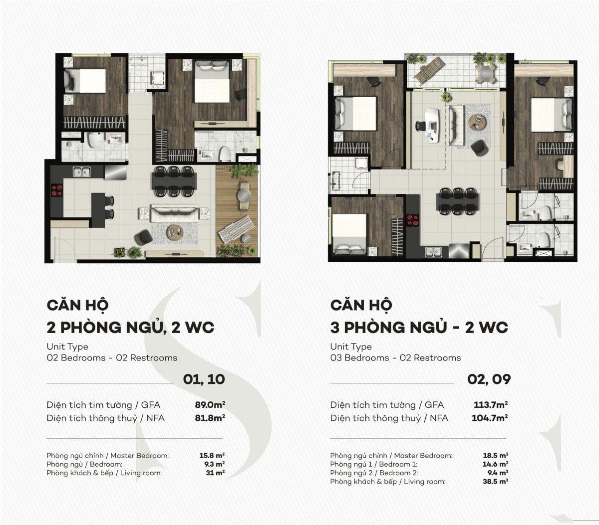 Thiết kế căn hộ 3 PN Smartel Signial Quận 7