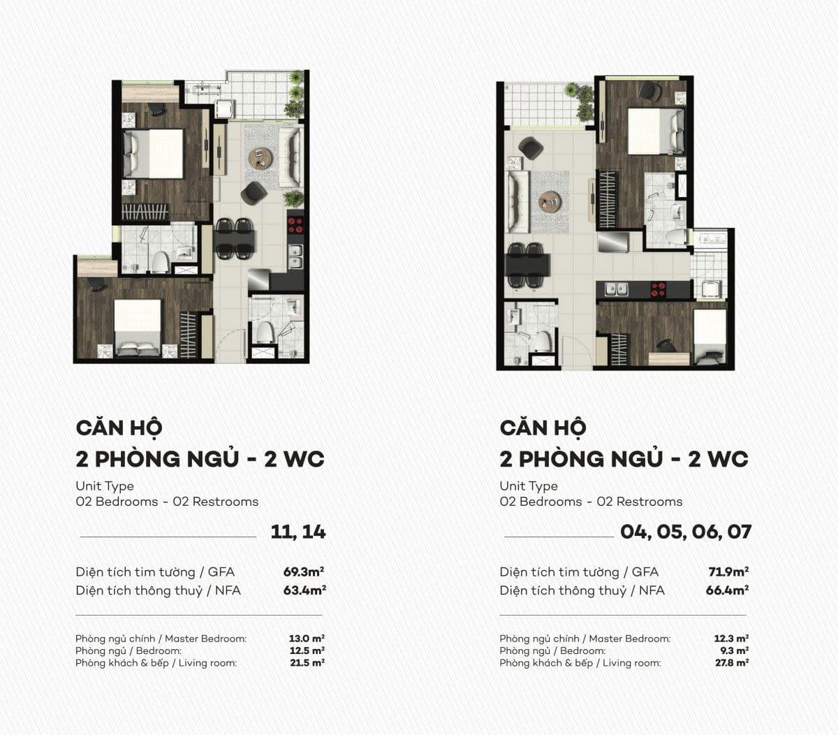 Thiết kế căn hộ 2 PN Smartel Signial Quận 7