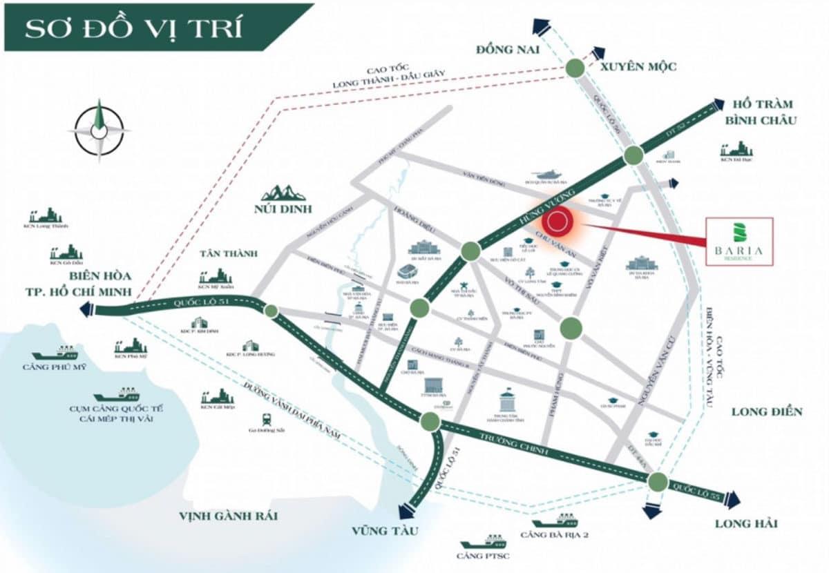 Vị trí Dự án Đất nền Baria Residence