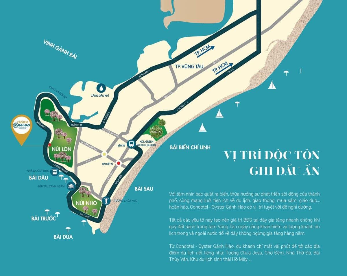 Vị trí Dự án Căn hộ Condotel Oyster Gành Hào Vũng Tàu
