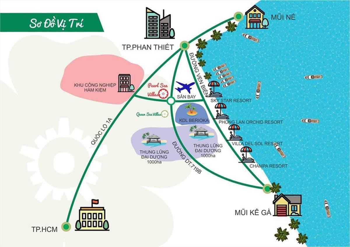 Vị trí trung tâm Phan Thiết của Dự án Pearl Sea Villa