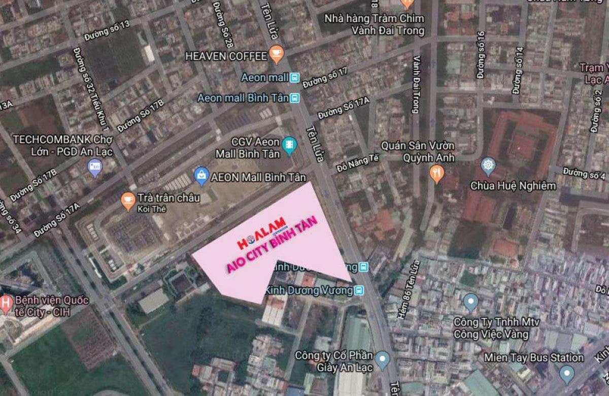 Vị trí Lô đất Dự án Căn hộ Aio City Bình Tân