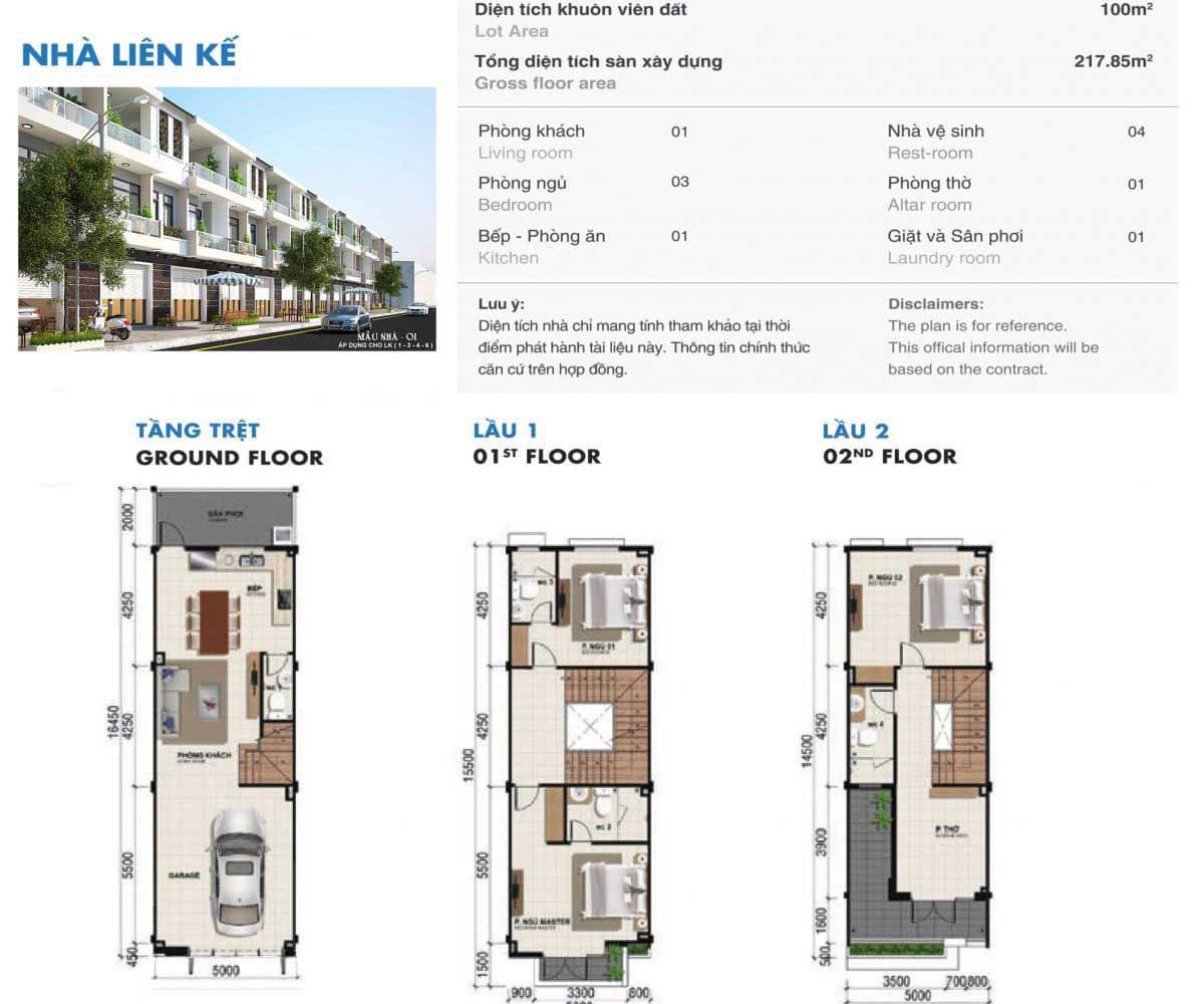 Bản thiết kế căn nhà phố 1 trệt 2 lầu Dự án Phú Mỹ Gold City