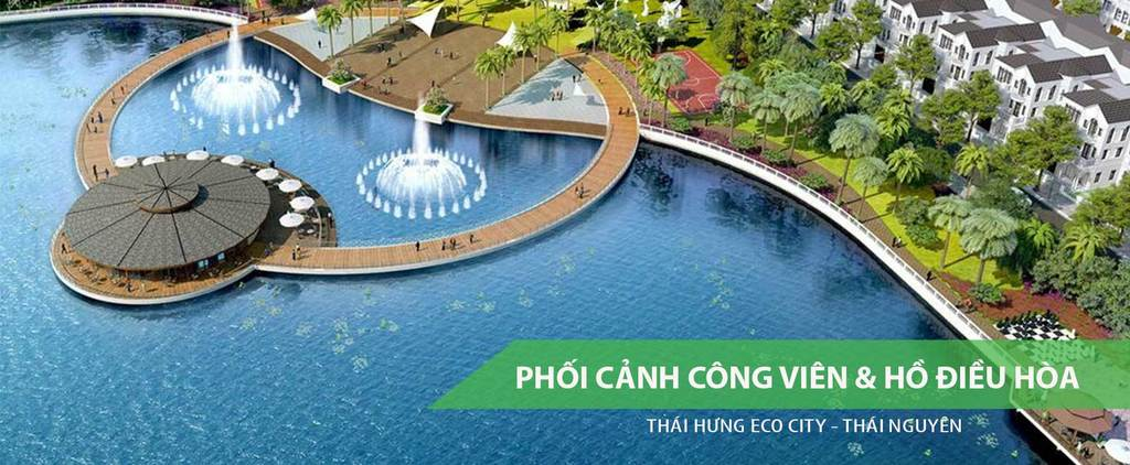 Công viên và Hồ điều hòa Crown Villas Thái Nguyên