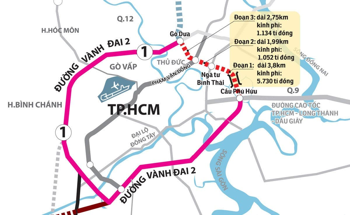 Các thông tin hạ tầng Đường Vành Đai 2 phát triển xung quanh dự án