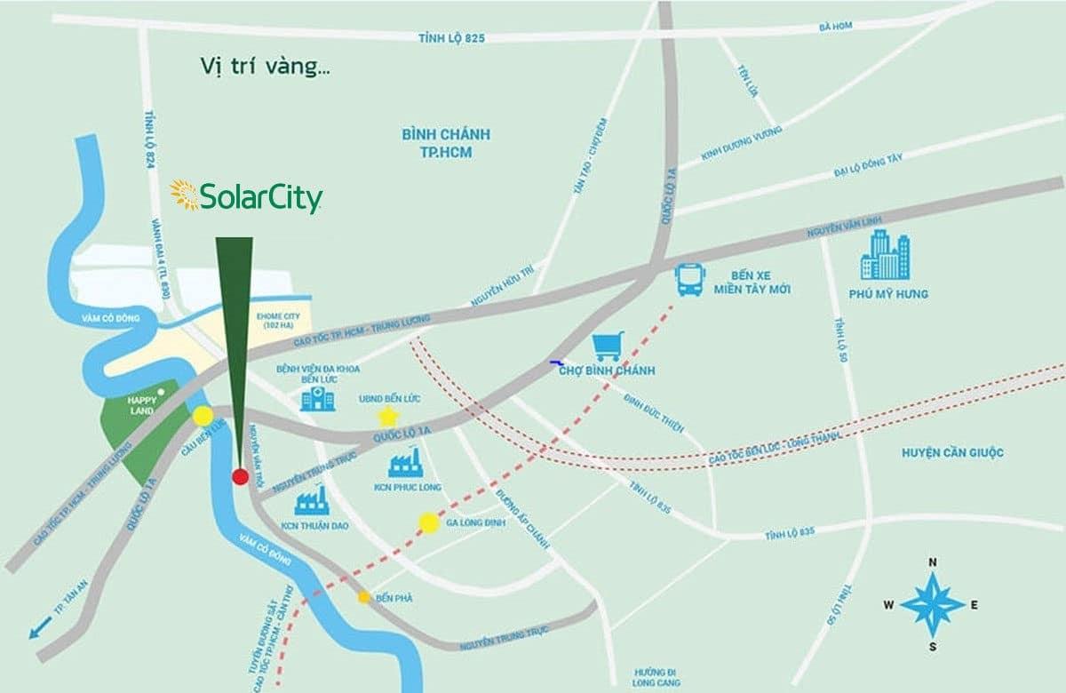 Vị trí Dự án Solar City Bến Lức Long An