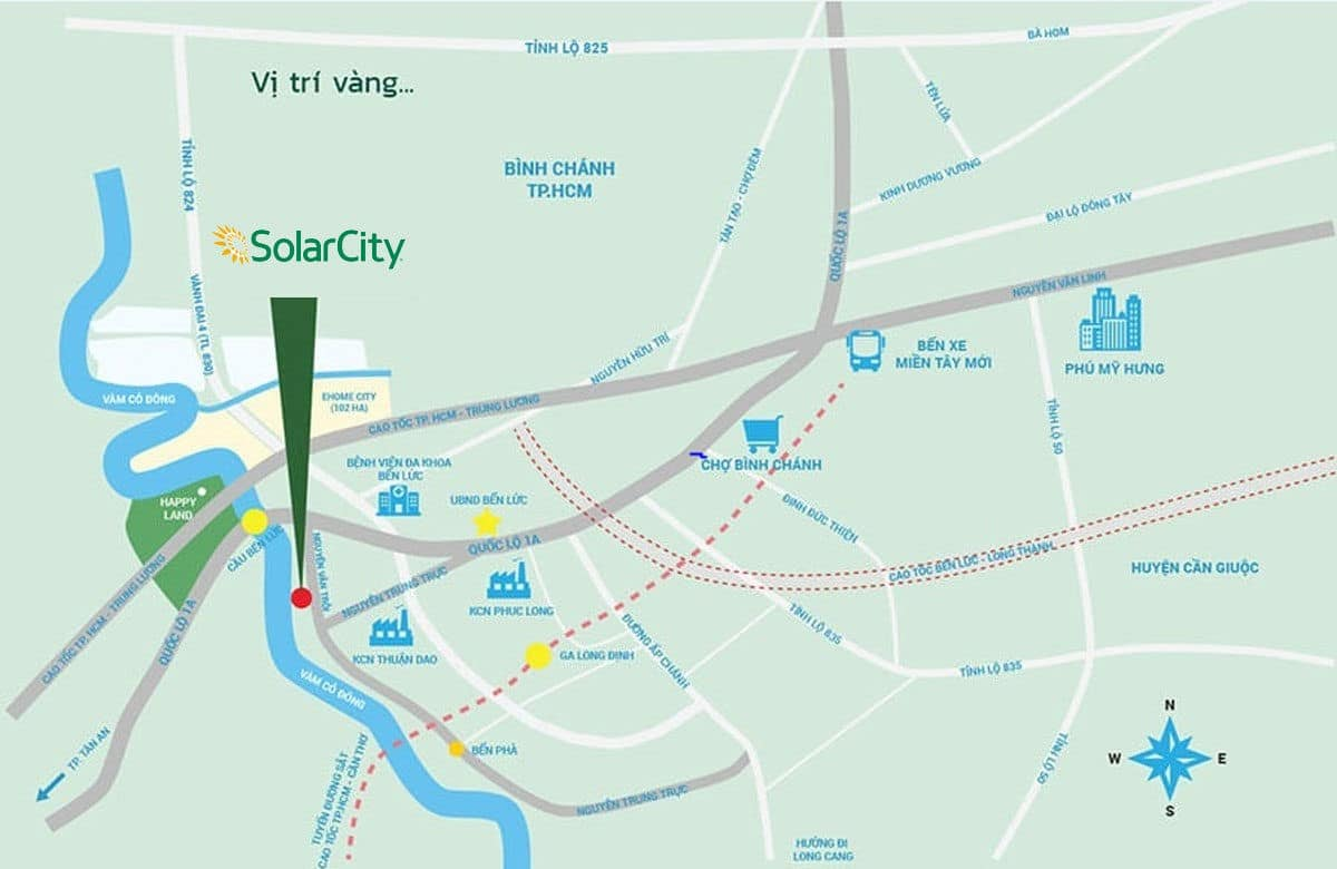 vi tri du an solar city - DỰ ÁN SOLAR CITY BẾN LỨC LONG AN