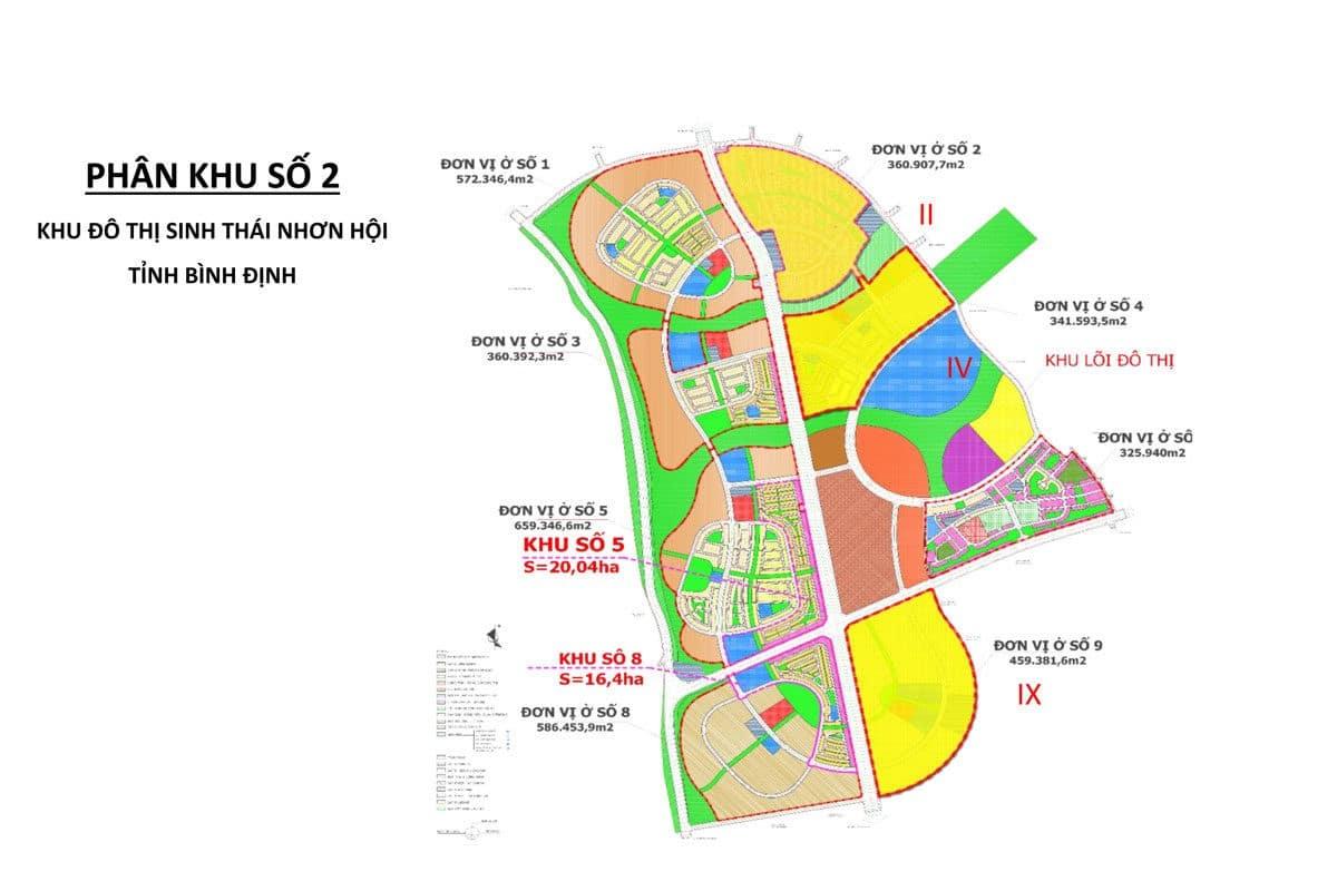 Bản đồ Quy hoạch sử dụng đất Khu Đô thị du lịch sinh thái Nhơn Hội, Bình Định