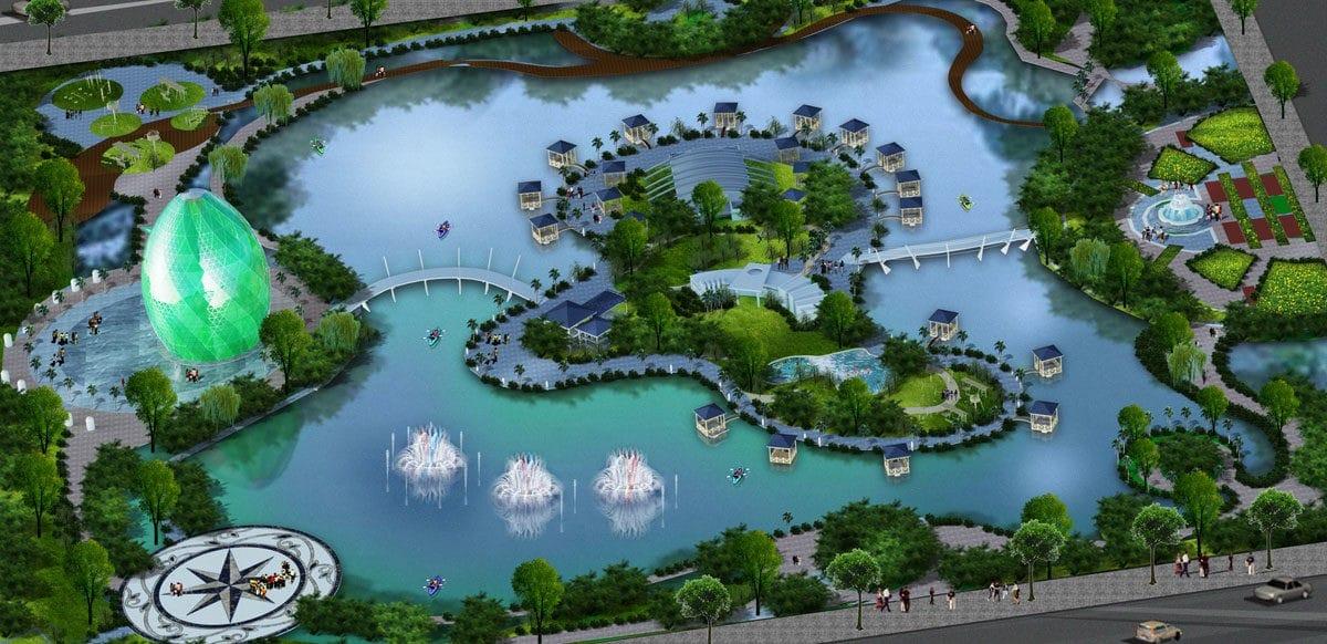 Hồ nước trung tâm Dự án Khu đô thị Happy Home Cà Mau