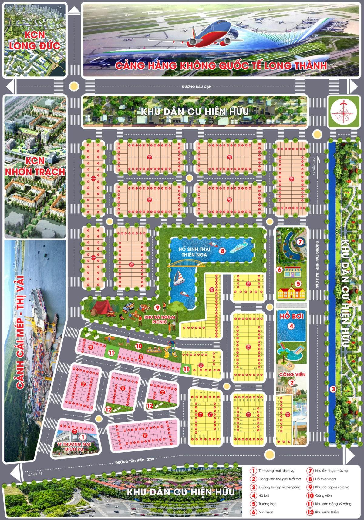 Mặt bằng phân lô Dự án Đất nền Airport City Long Thành