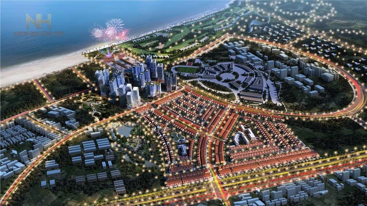 Phối cảnh Khu đô thị Nhơn Hội New City về đêm