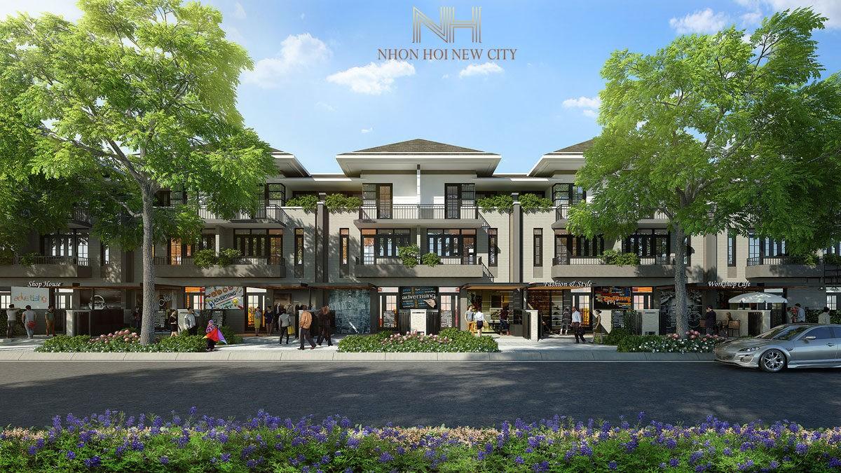 phoi canh khu nha pho du an nhon hoi new city - DỰ ÁN KHU ĐÔ THỊ SINH THÁI NHƠN HỘI NEW CITY