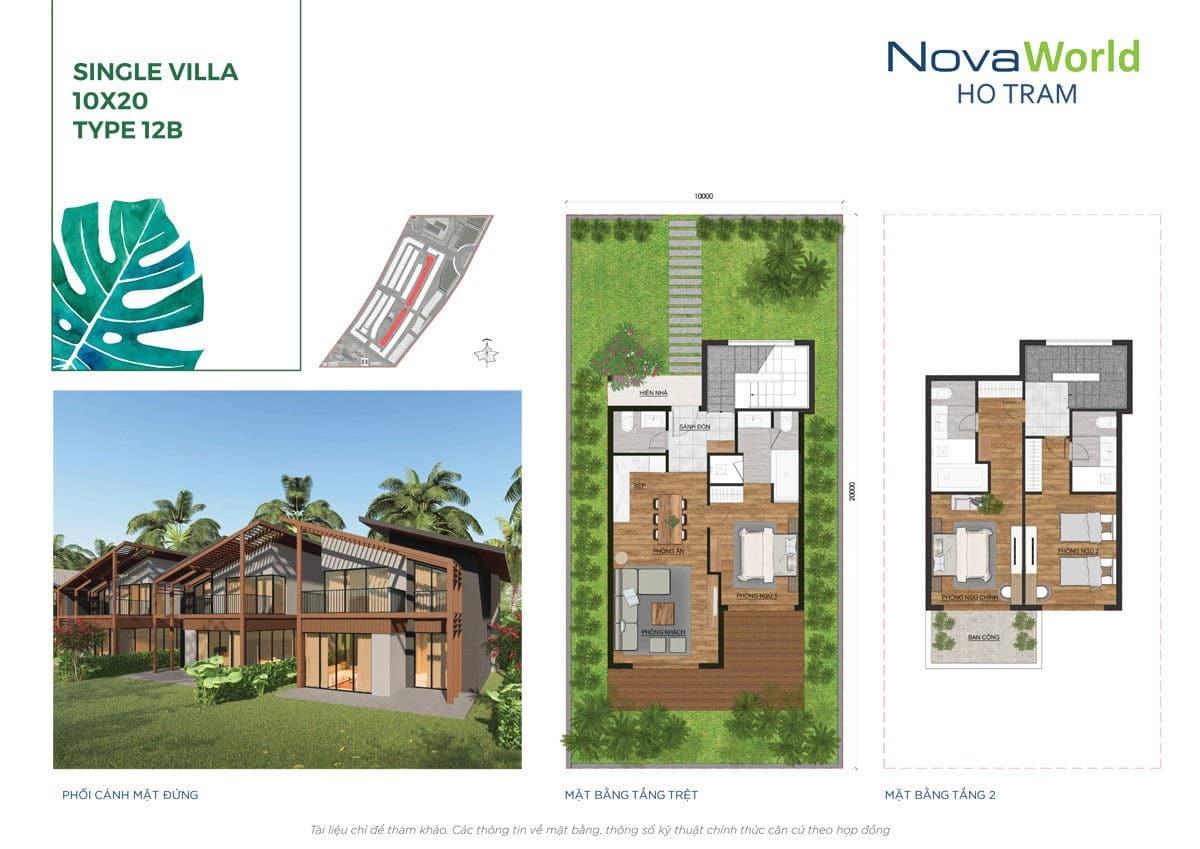 Thiết kế Biệt thự 10 x 20m NovaWorld Hồ Tràm Bình Châu