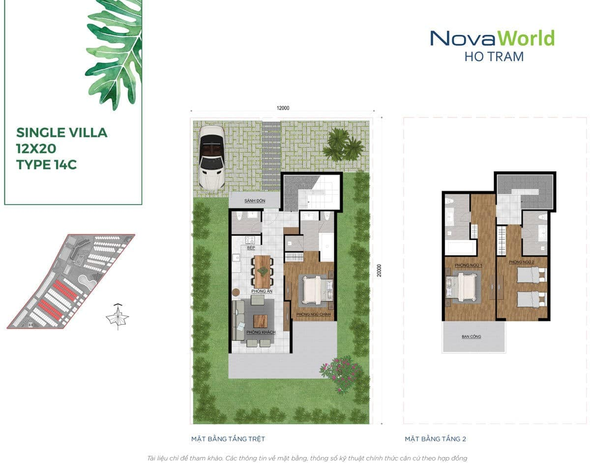 Thiết kế Biệt thự 12 x 20m NovaWorld Hồ Tràm Bình Châu