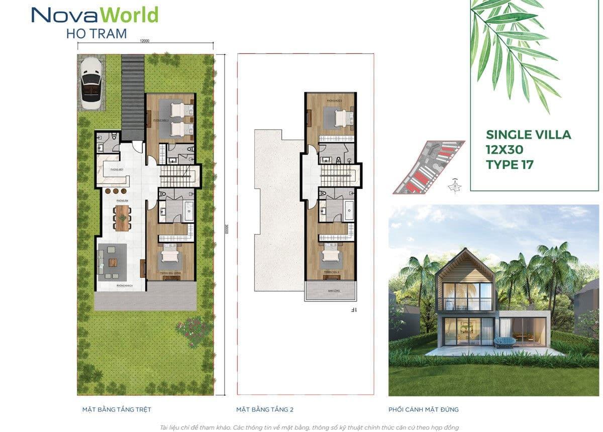 Thiết kế Biệt thự 12 x 20m NovaWorld Hồ Tràm