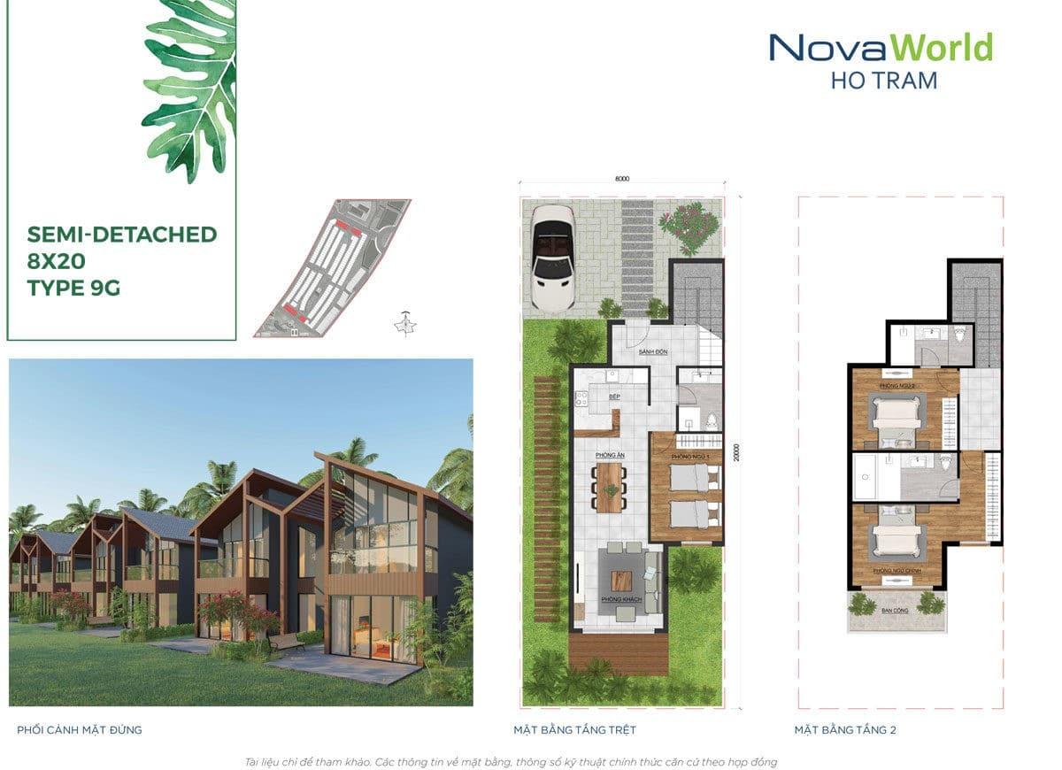Thiết kế Biệt thự 8 x 20m NovaWorld Hồ Tràm