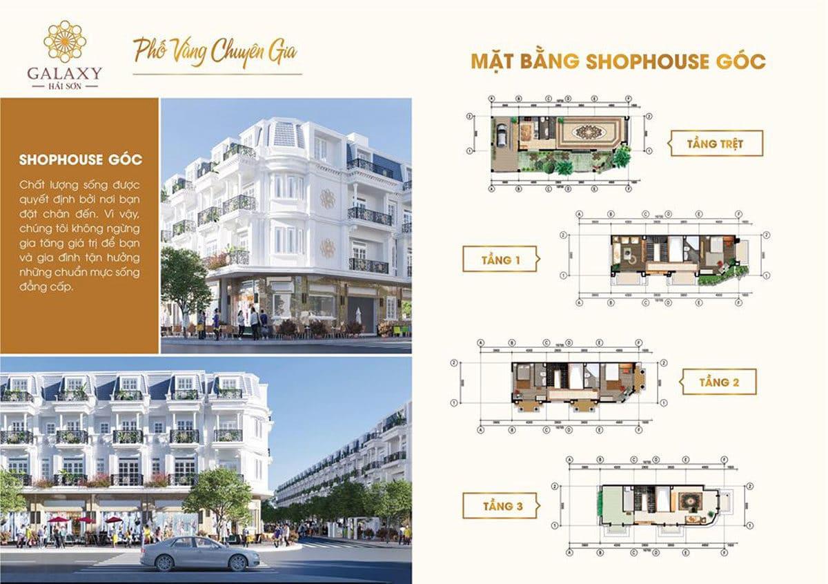Thiết kế Shophouse Góc Dự án Galaxy Hải Sơn Đức Hòa Long An