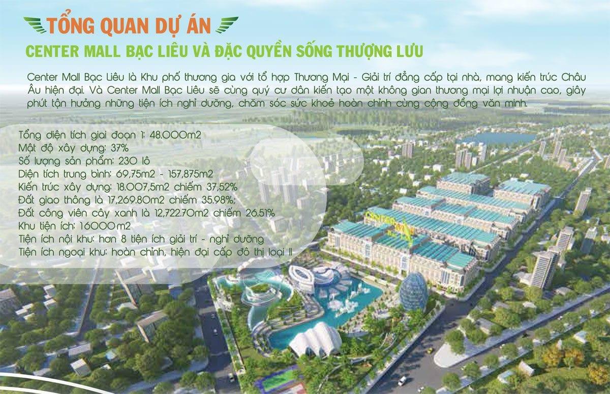 tong the du an center mall bac lieu - DỰ ÁN KHU ĐÔ THỊ CENTER MALL BẠC LIÊU