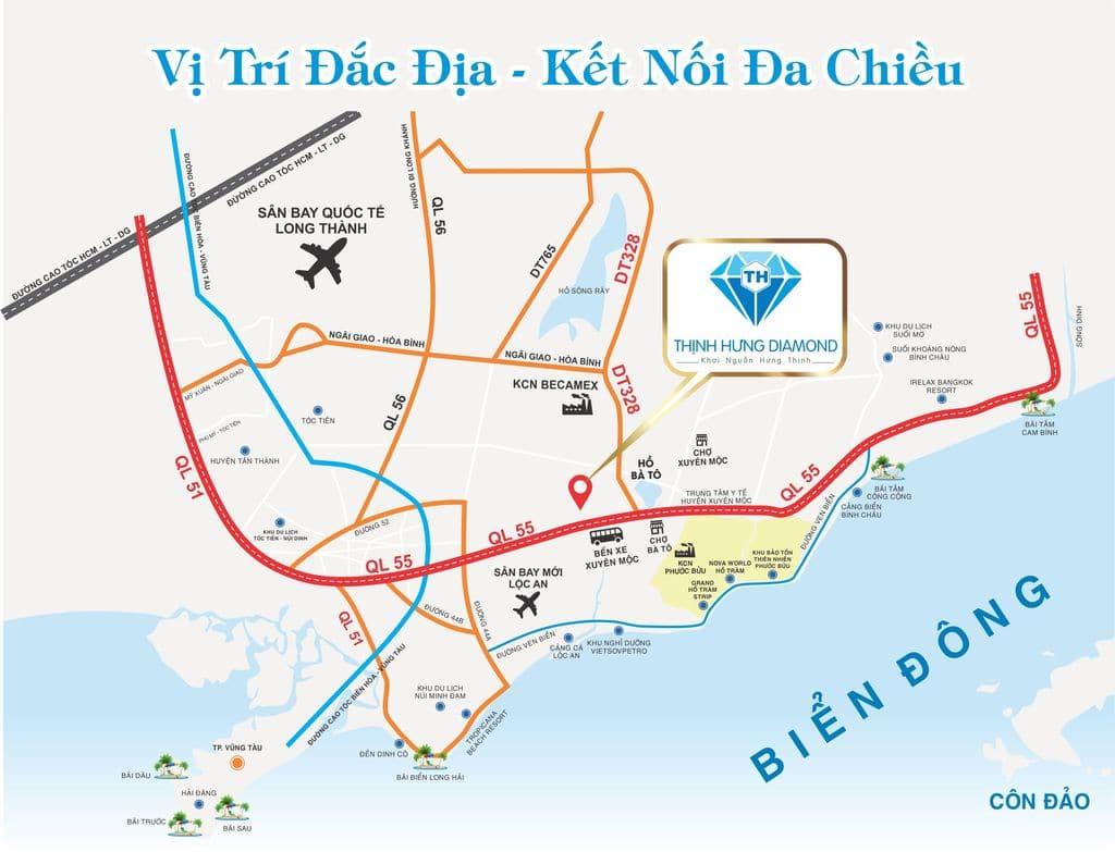 Vị trí dự án Thịnh Hưng Diamond Bà Tô