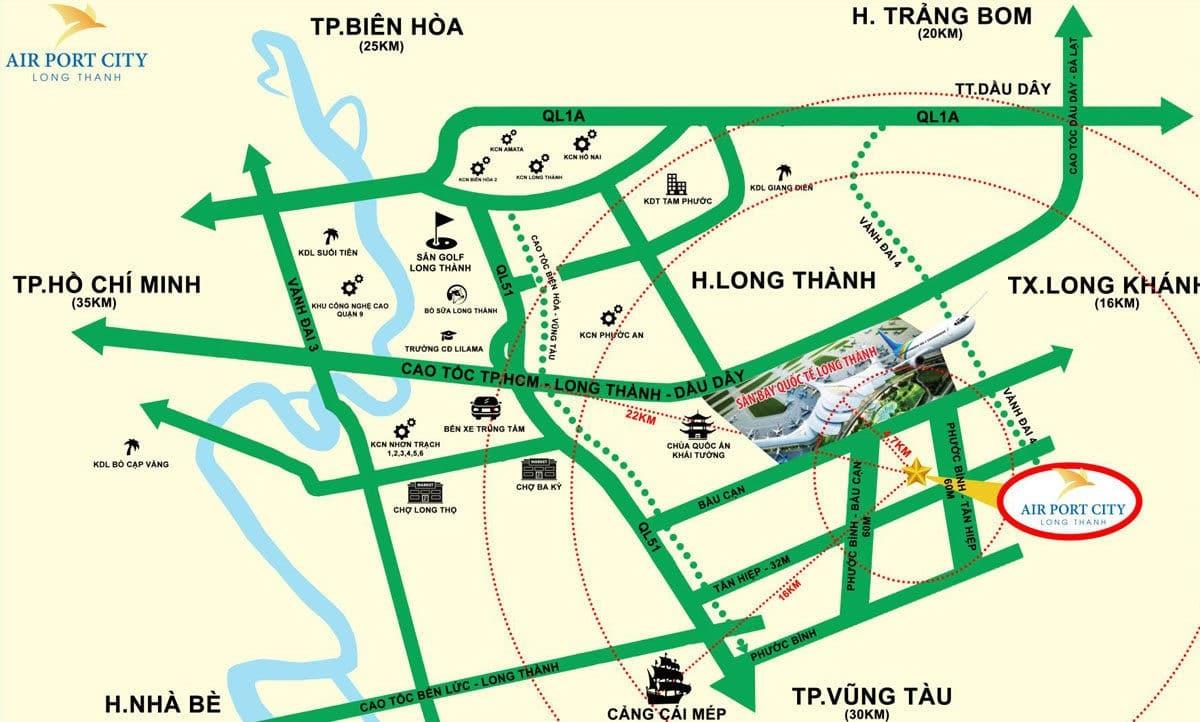 Vị trí trung tâm của Dự án Airport City Long Thành
