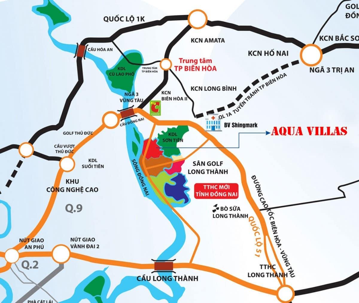 Vị trí Dự án Aqua Villas Biên Hòa Đồng Nai