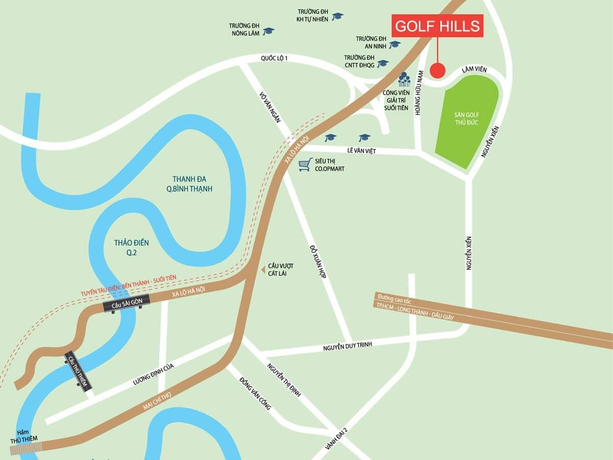 Vị trí Dự án Nhà phố – Biệt thự Golf Hills