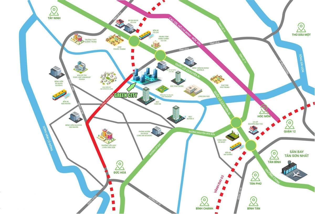 vi tri du an green city cu chi - DỰ ÁN GREEN CITY TỈNH LỘ 8 CỦ CHI