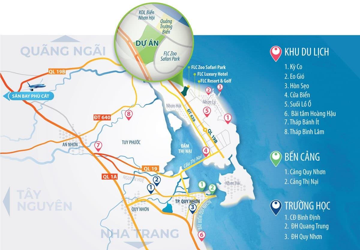Sơ đồ Vị trí Dự án Khu đô thị Nhơn Hội