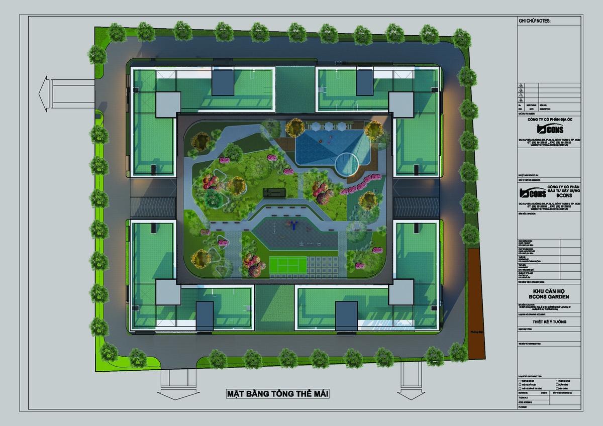 Thiết kế tầng mảng xanh tại sân thượng Bcons Garden
