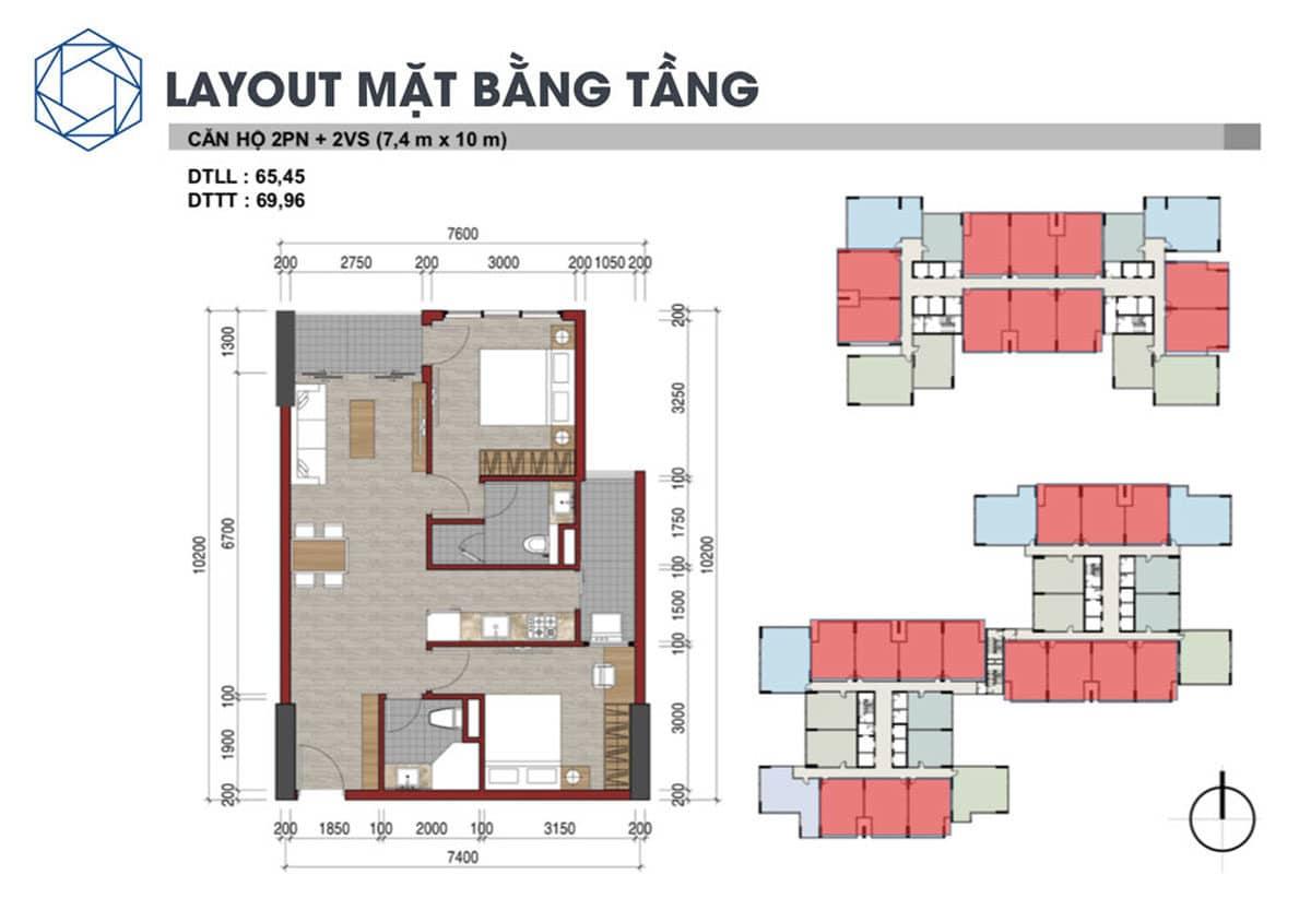 Thiết kế Căn hộ 2 Phòng ngủ Charm City Bình Dương