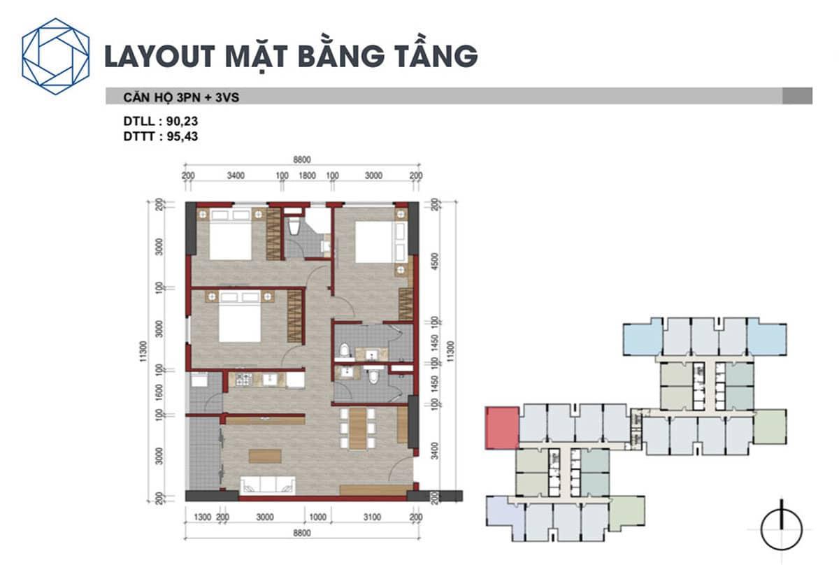 Thiết kế Căn hộ 3 Phòng ngủ Charm City Bình Dương