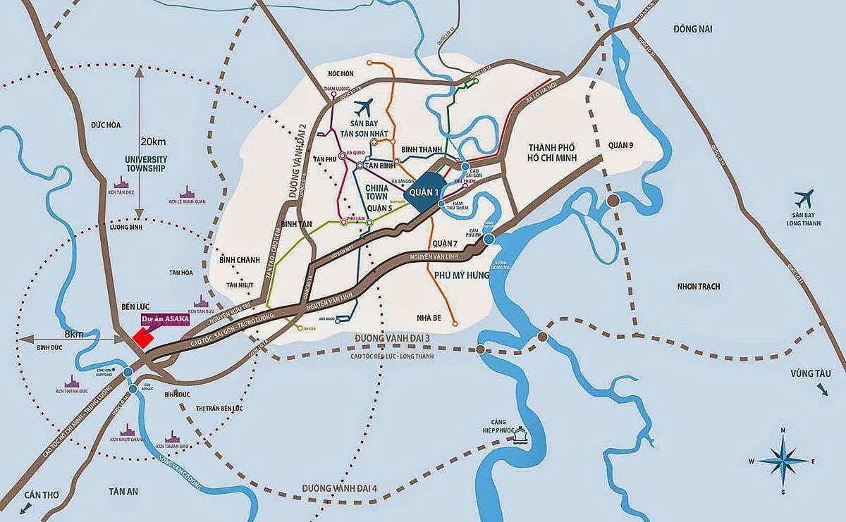 Vị trí Dự án Asaka Riverside Bến Lức Long An