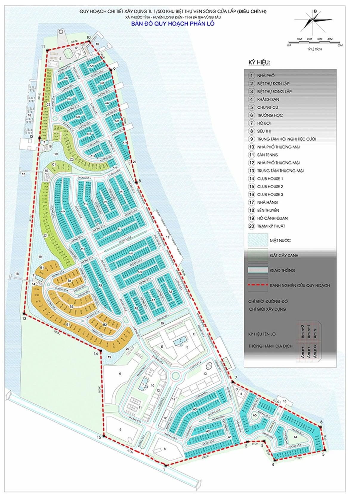 Mặt bằng phân lô Dự án Khu đô thị biển Marine City Bà Rịa Vũng Tàu