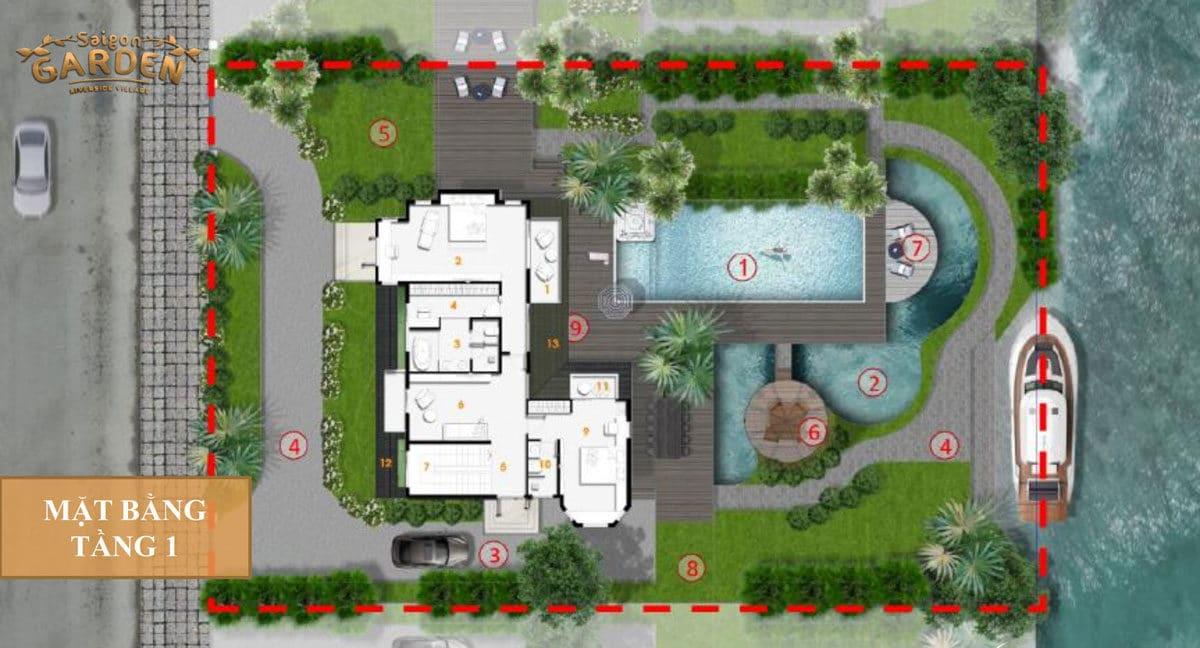 Mặt bằng tầng 1 Biệt thự 02 Dự án Saigon Garden Riverside Village Quận 9