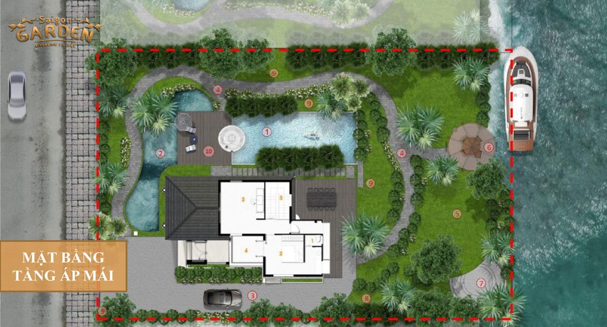 Mặt bằng tầng Áp mái Biệt thự Saigon Garden Riverside Village Quận 9
