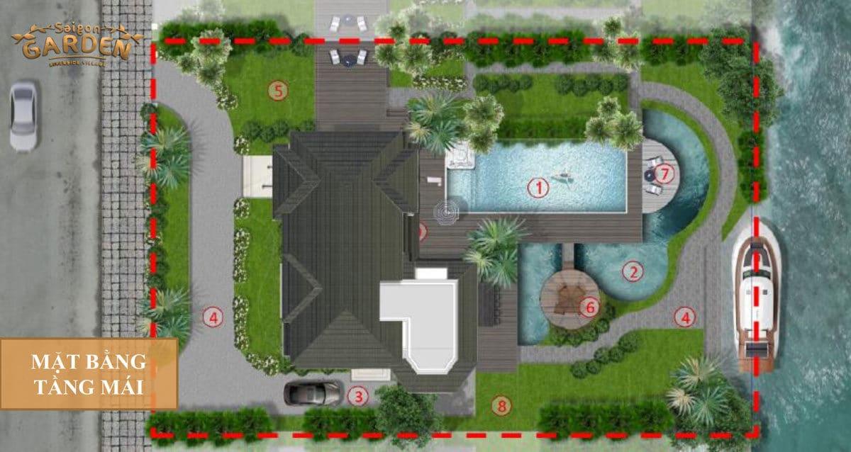 Mặt bằng tầng Áp mái Biệt thự 02 Dự án Saigon Garden Riverside Village Quận 9