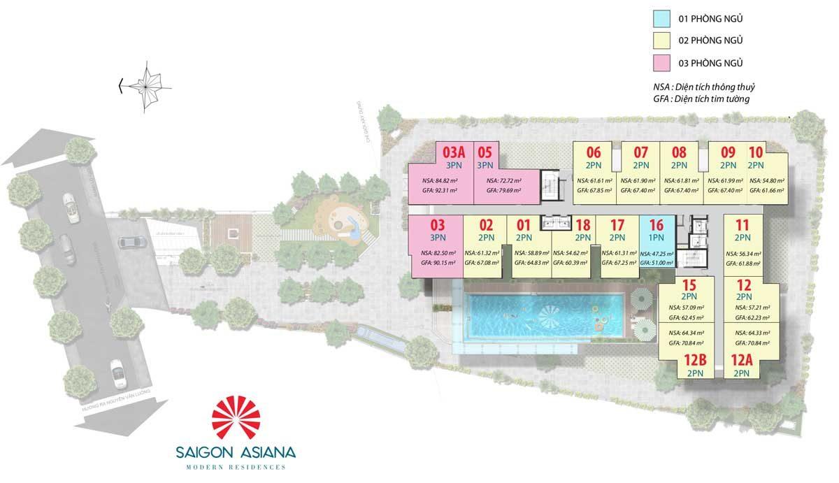 Mặt bằng Dự án Căn hộ Saigon Asiana Quận 6