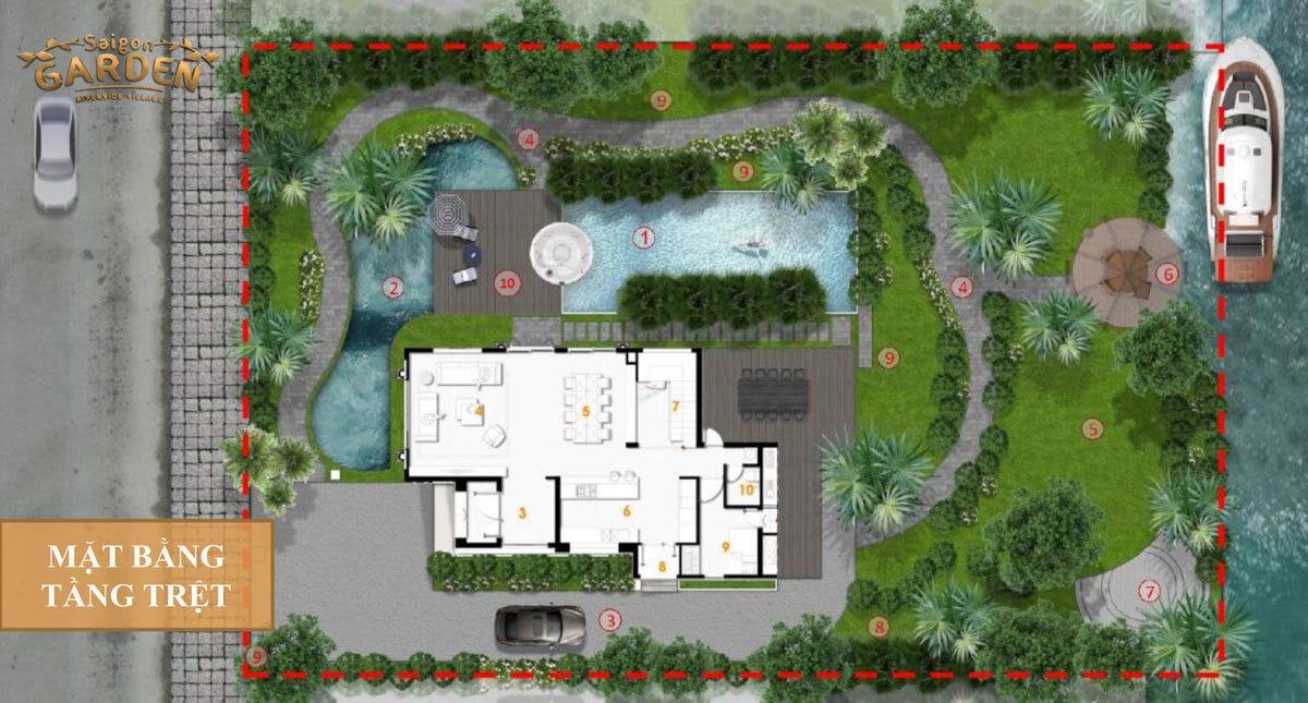 Mặt bằng tầng Trệt Biệt thự Saigon Garden Riverside Village Quận 9