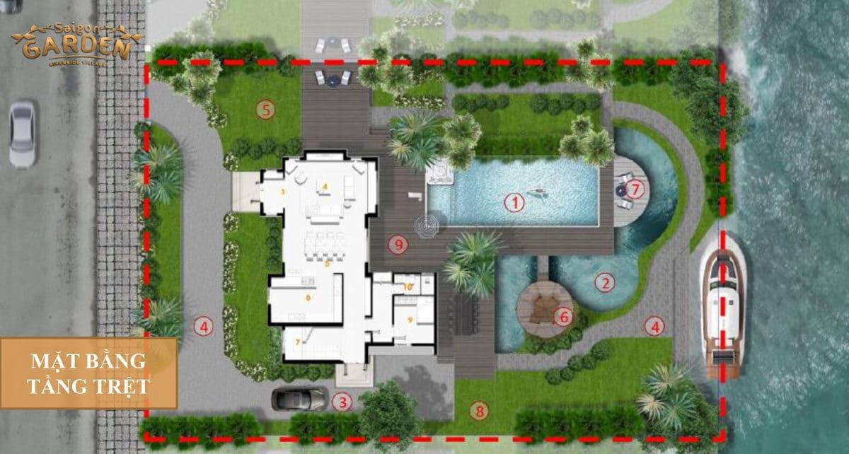 Mặt bằng tầng Trệt Biệt thự 02 Dự án Saigon Garden Riverside Village Quận 9
