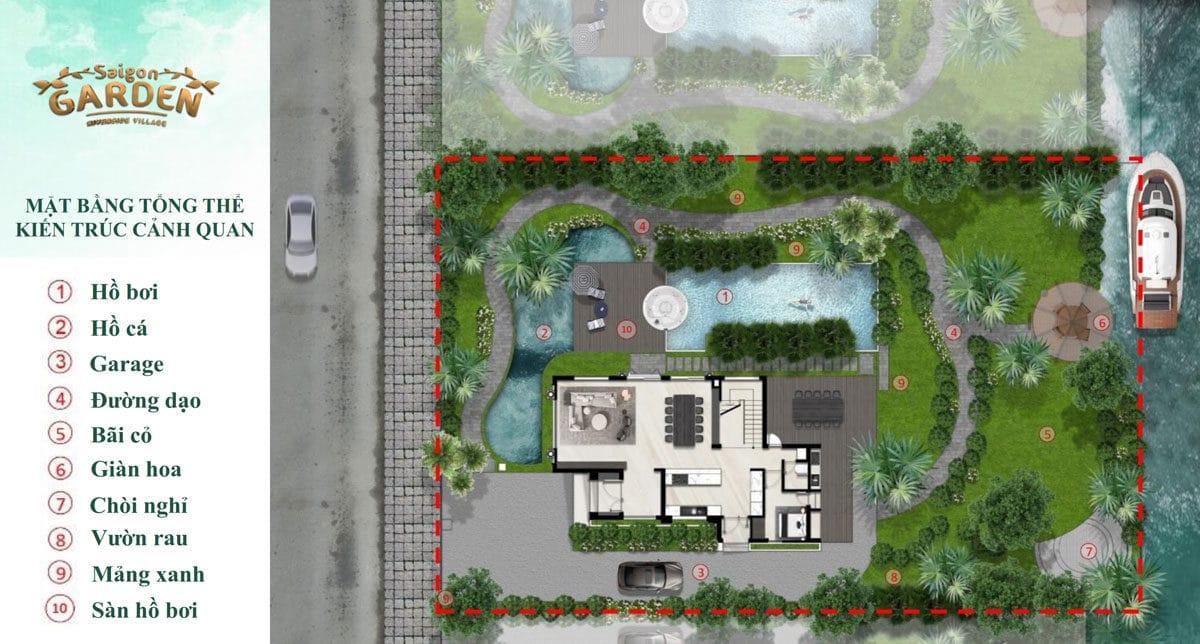 Mặt bằng Tổng thể kiến trúc cảnh quan Biệt thự Saigon Garden Riverside Village Quận 9
