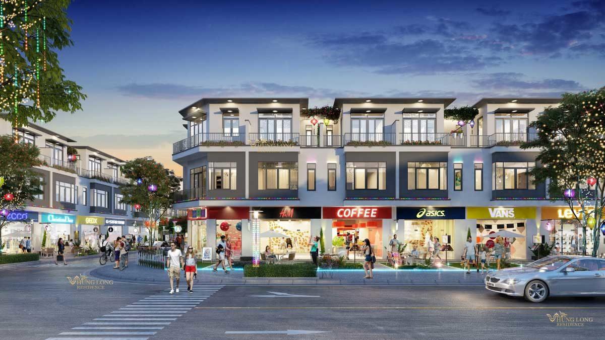 phoi canh shophouse du an hung long residence - DỰ ÁN HƯNG LONG RESIDENCE LONG AN