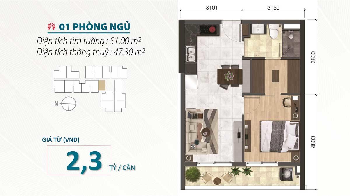 Thiết kế Căn hộ 1 Phòng ngủ SaiGon Asiana Nguyễn Văn Luông Quận 6