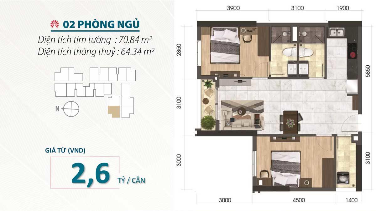 Thiết kế Căn hộ 2 Phòng ngủ SaiGon Asiana Nguyễn Văn Luông Quận 6
