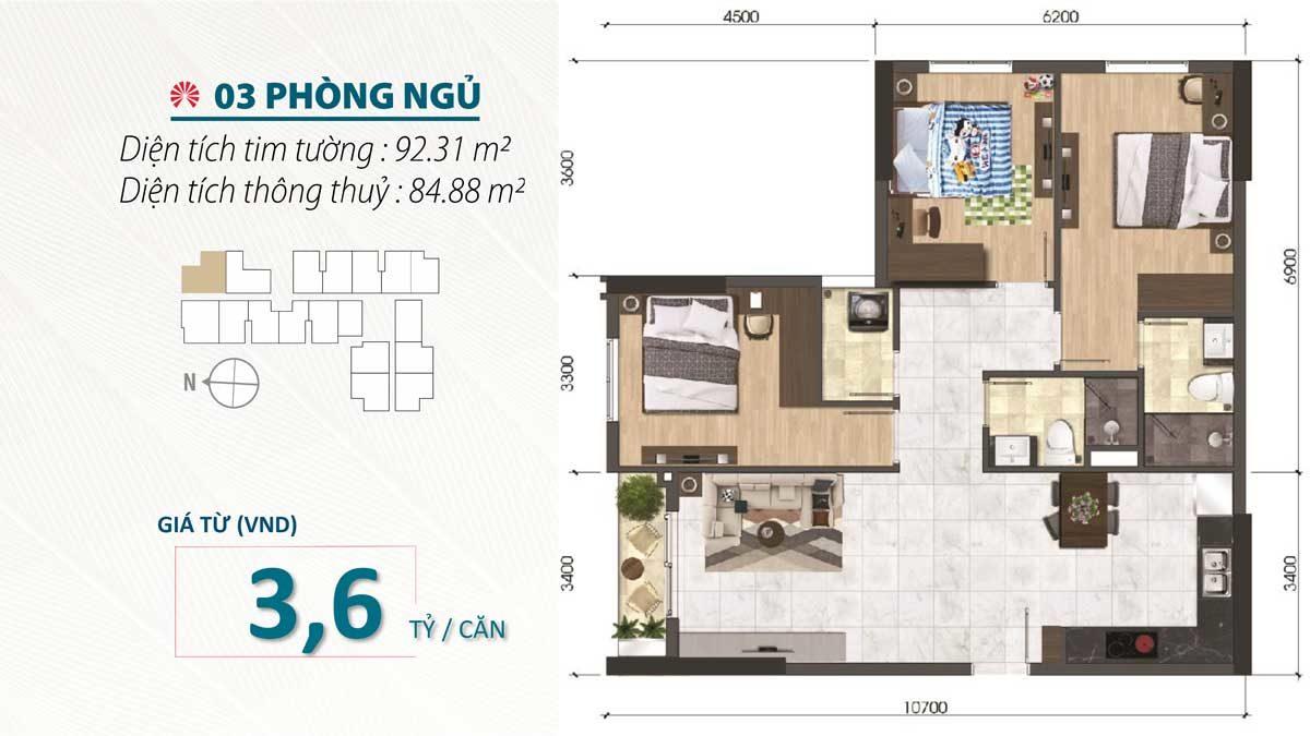 Thiết kế Căn hộ 3 Phòng ngủ SaiGon Asiana Nguyễn Văn Luông Quận 6