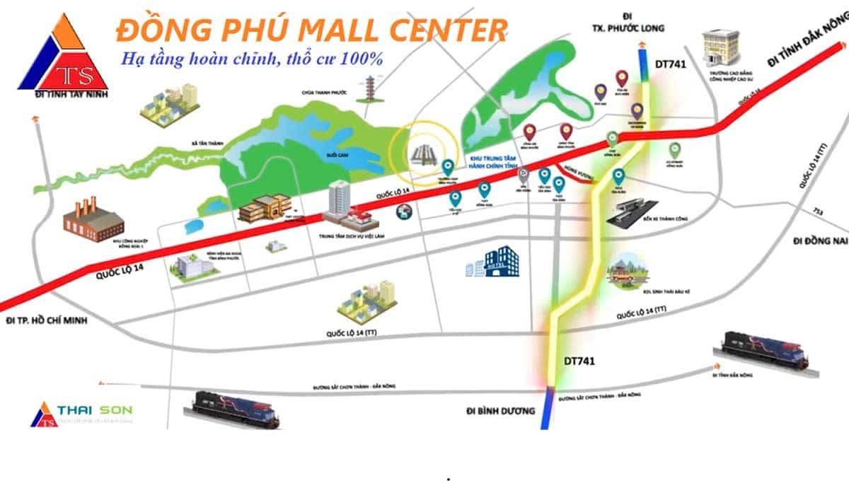 vi tri du an dong phu mall center - DỰ ÁN ĐỒNG PHÚ MALL CENTER ĐỒNG XOÀI BÌNH PHƯỚC