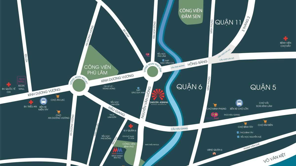 Bản đồ Vị trí Dự án Căn hộ Saigon Asiana Quận 6