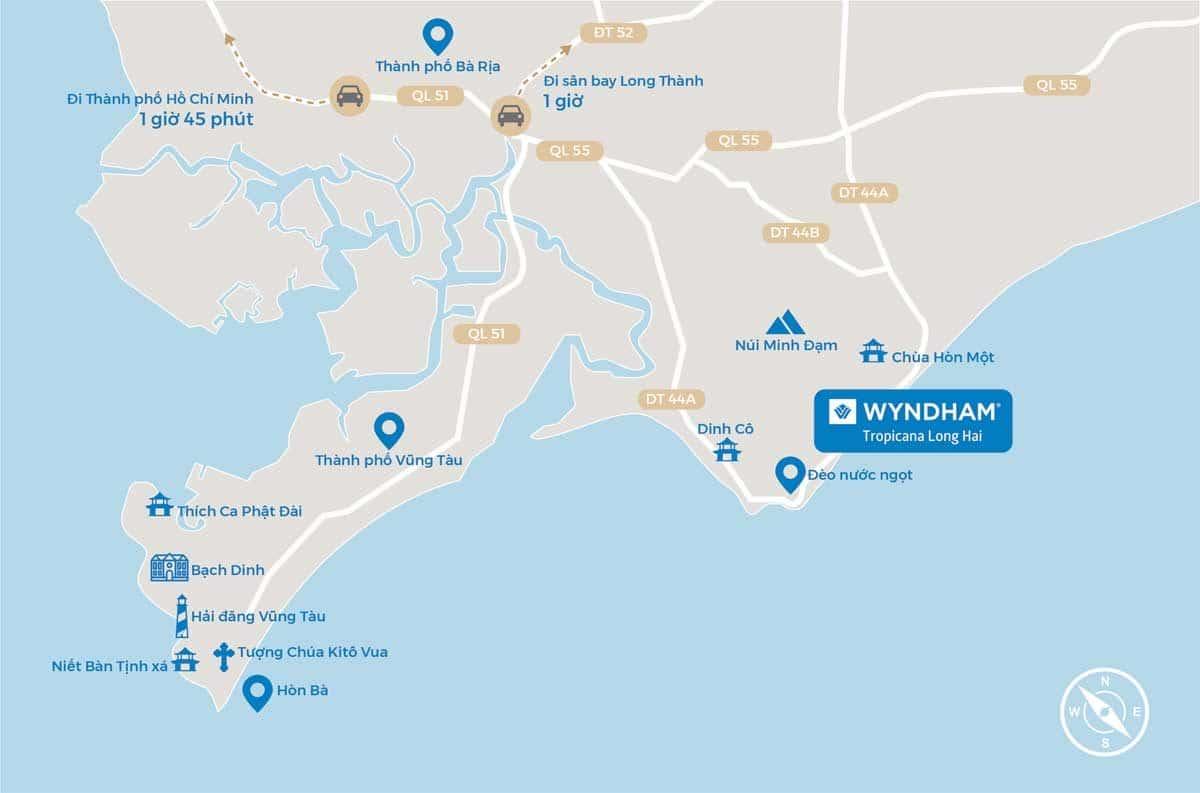 Vị trí Dự án Wyndham Tropicana Long Hải